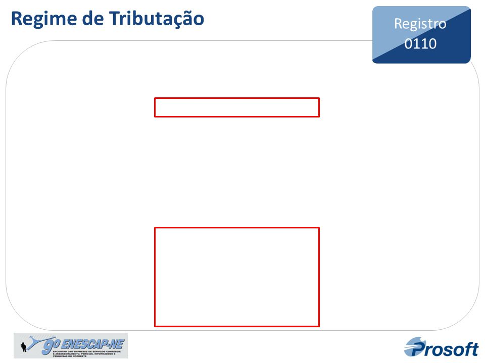 Regime de Tributação Registro 0110 Bloco 0 Registro 0110