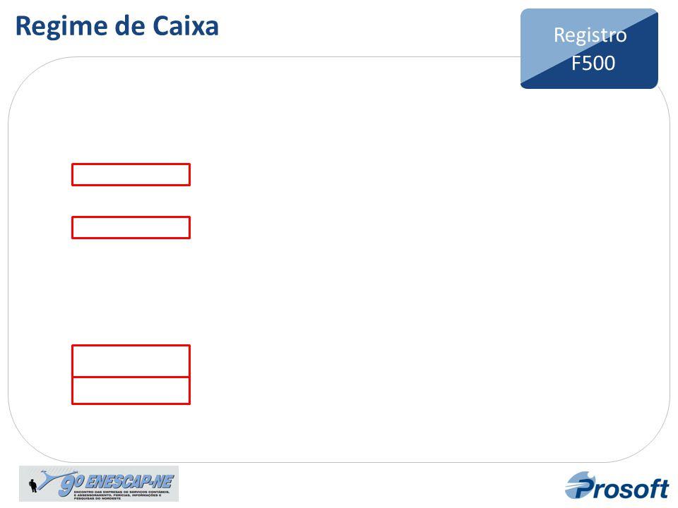 Regime de Caixa Registro F500 Bloco F Registro F100