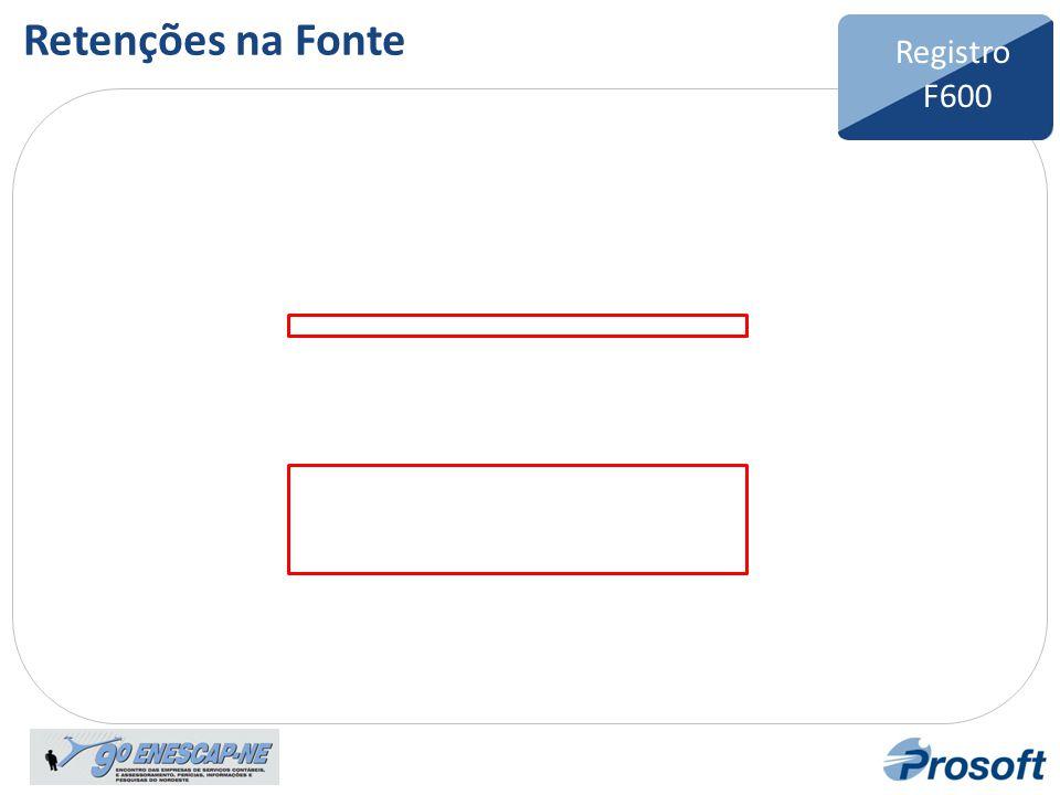 Retenções na Fonte Registro F600 Bloco F Registro F600