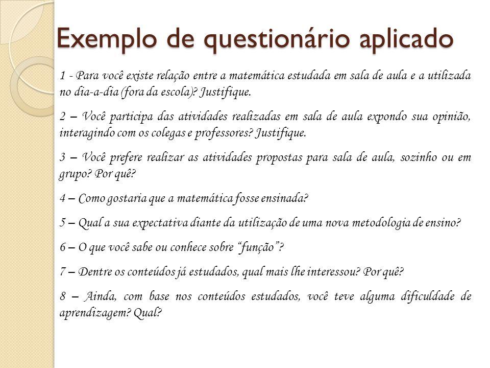 Exemplo de questionário aplicado