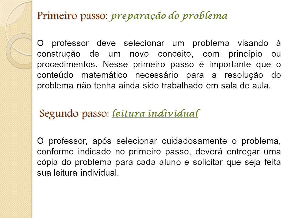 Primeiro passo: preparação do problema