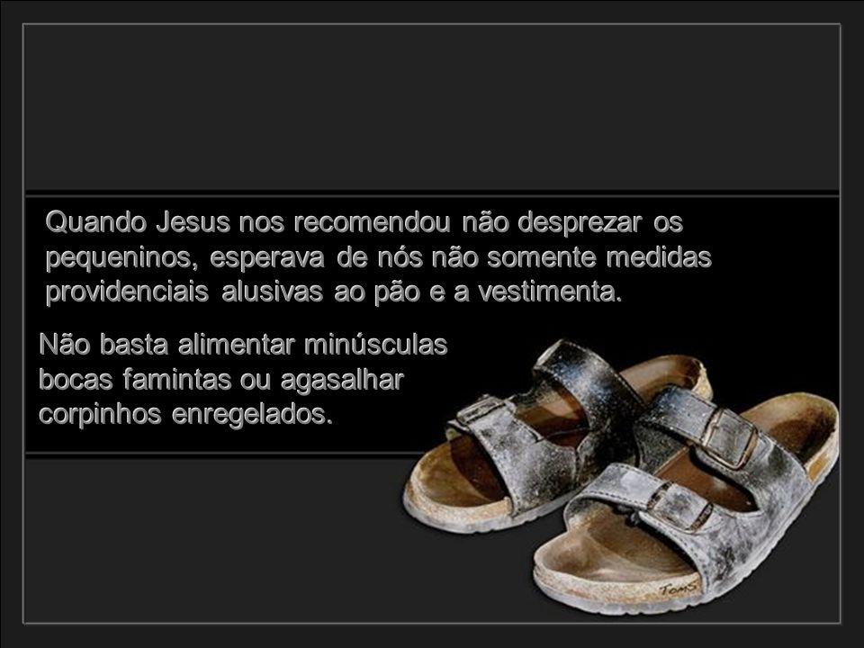 Quando Jesus nos recomendou não desprezar os pequeninos, esperava de nós não somente medidas providenciais alusivas ao pão e a vestimenta.