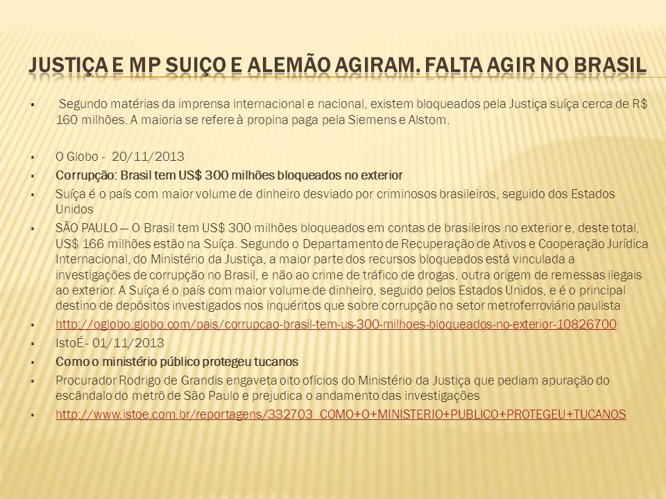 Justiça e MP suiço e alemão agiram. Falta agir no Brasil