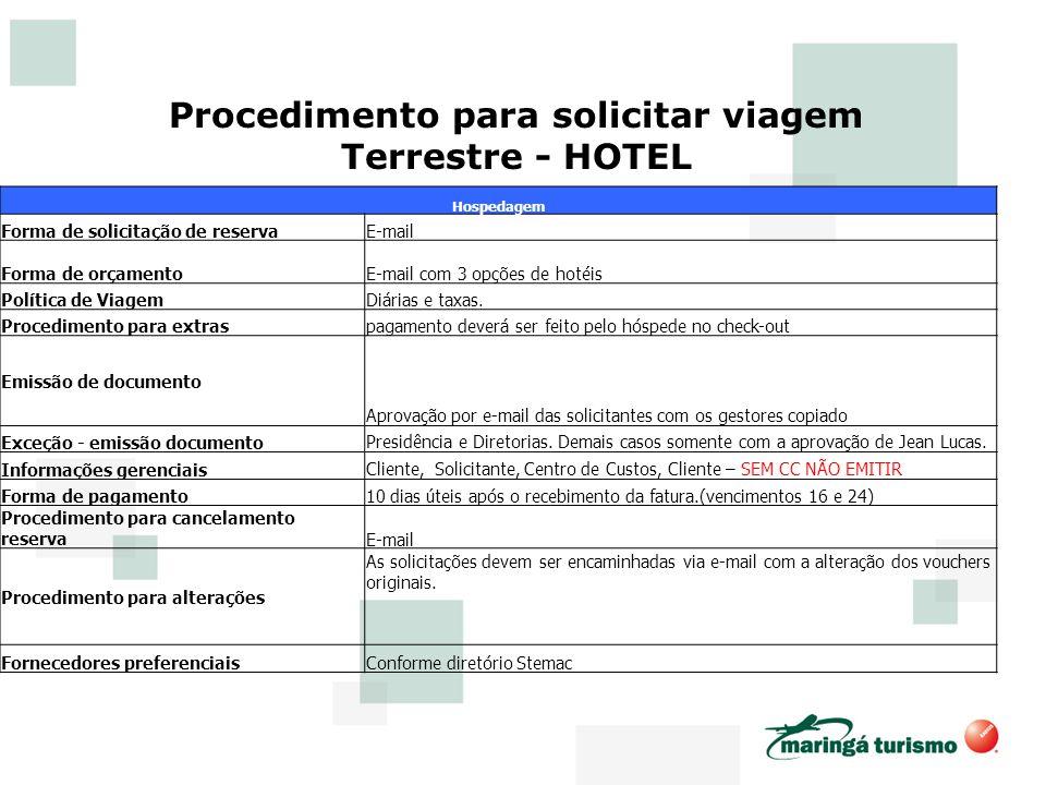 Procedimento para solicitar viagem Terrestre - HOTEL
