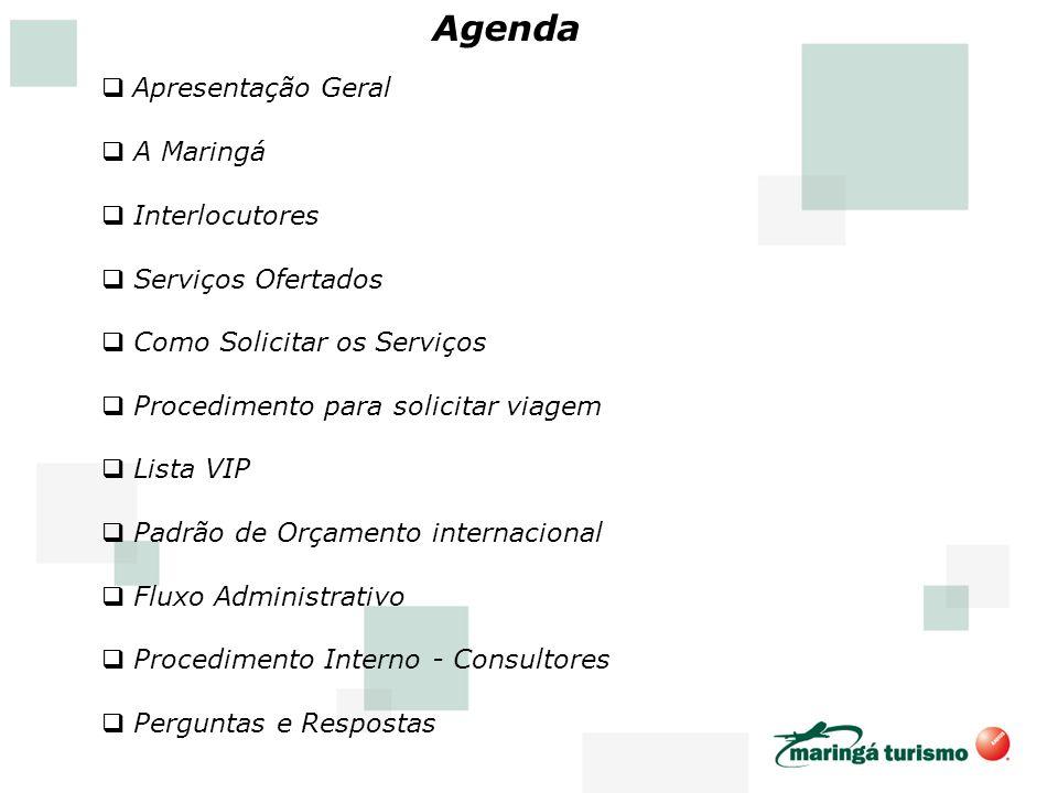 Agenda Apresentação Geral A Maringá Interlocutores Serviços Ofertados