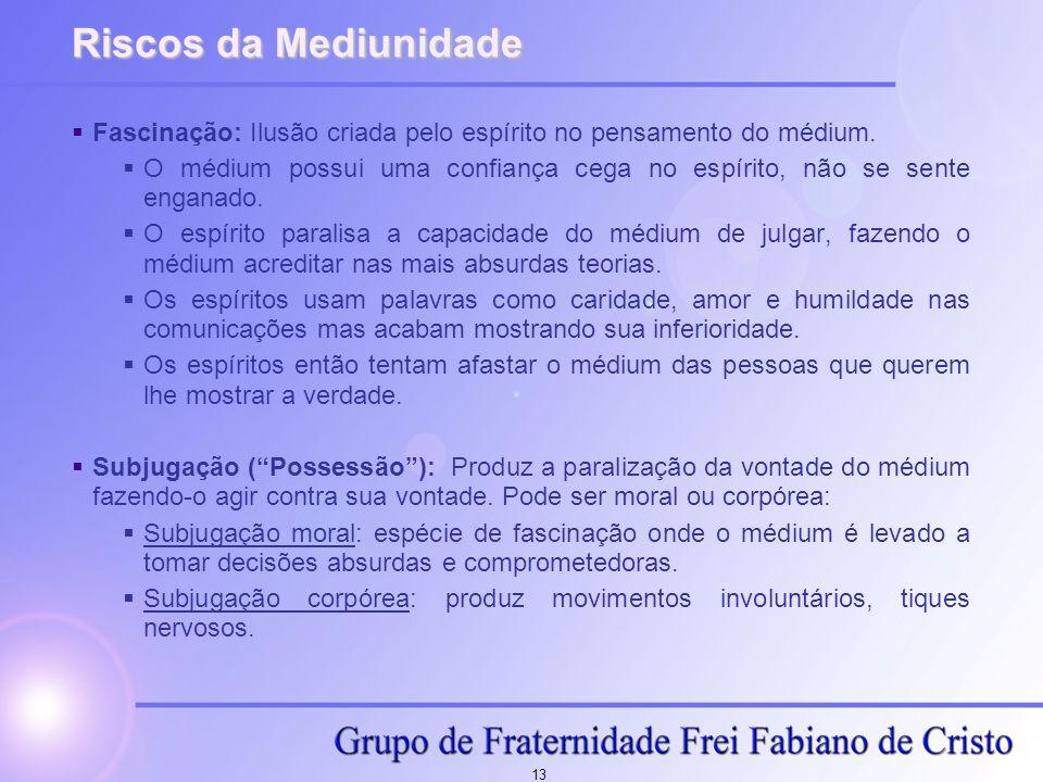Riscos da Mediunidade Fascinação: Ilusão criada pelo espírito no pensamento do médium.