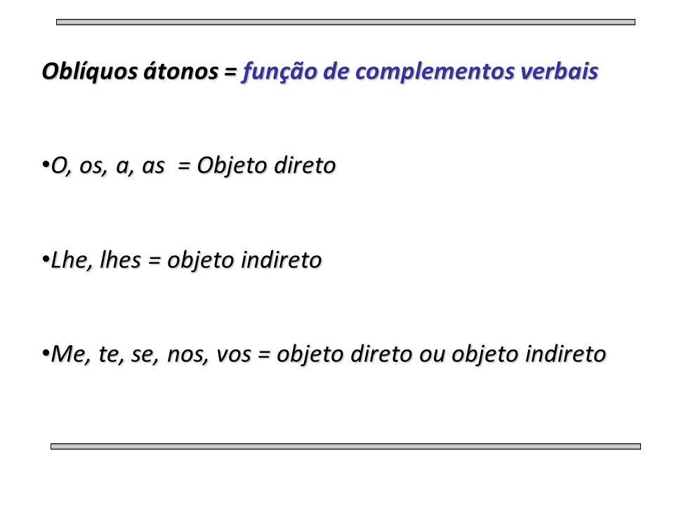 Oblíquos átonos = função de complementos verbais