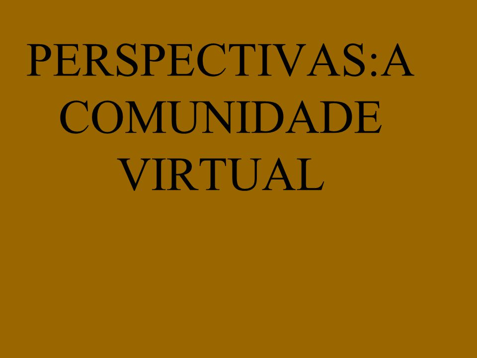 PERSPECTIVAS:A COMUNIDADE VIRTUAL