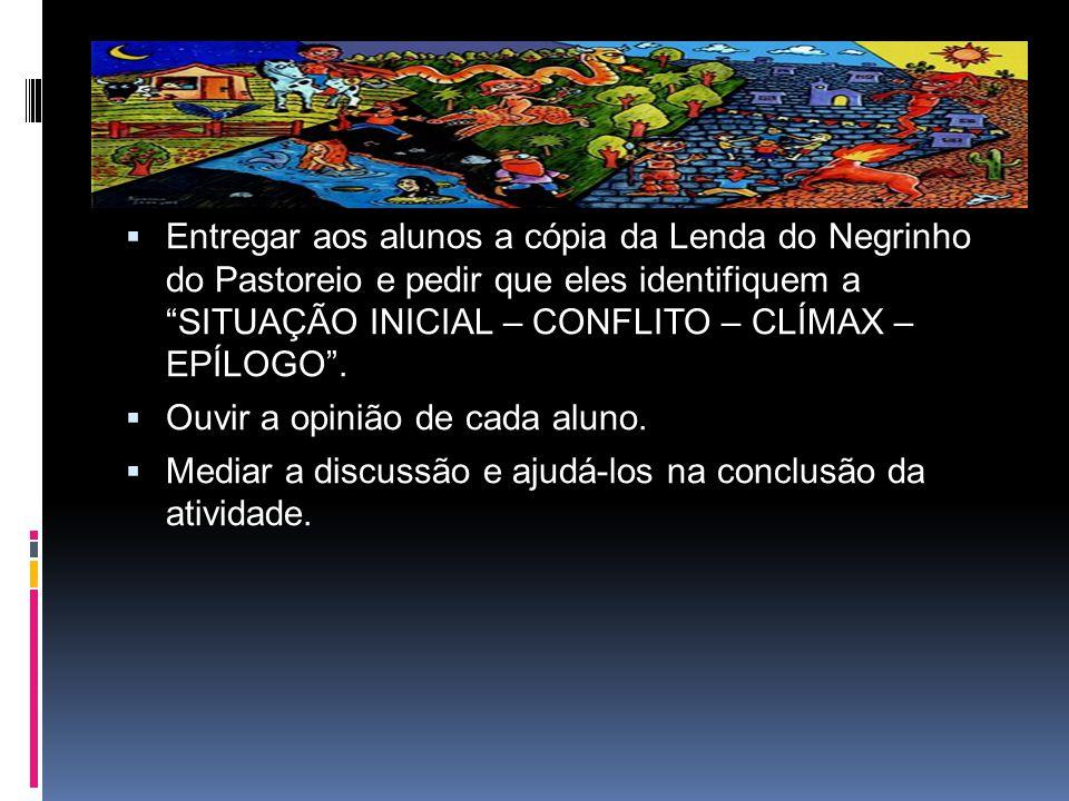 Entregar aos alunos a cópia da Lenda do Negrinho do Pastoreio e pedir que eles identifiquem a SITUAÇÃO INICIAL – CONFLITO – CLÍMAX – EPÍLOGO .