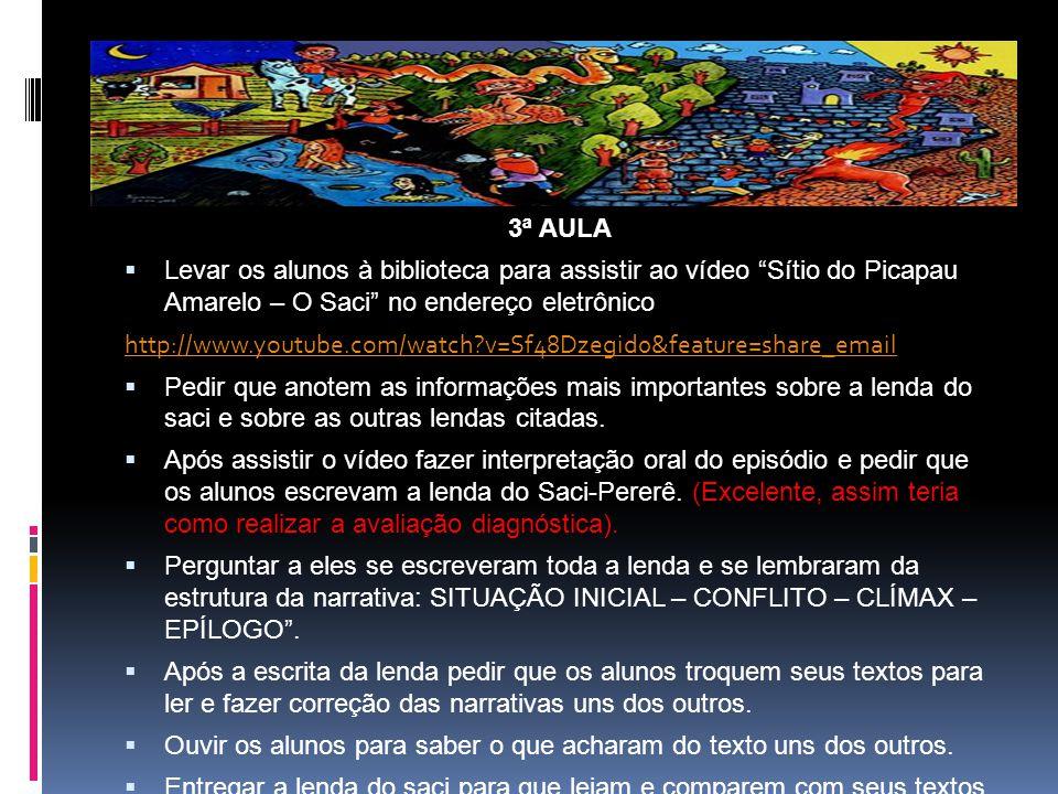 3ª AULA Levar os alunos à biblioteca para assistir ao vídeo Sítio do Picapau Amarelo – O Saci no endereço eletrônico.