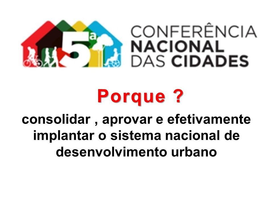 Porque consolidar , aprovar e efetivamente implantar o sistema nacional de desenvolvimento urbano