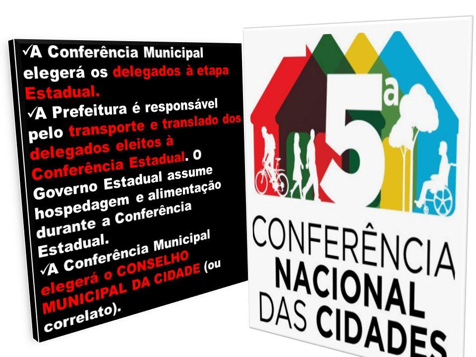 A Conferência Municipal elegerá os delegados à etapa Estadual.