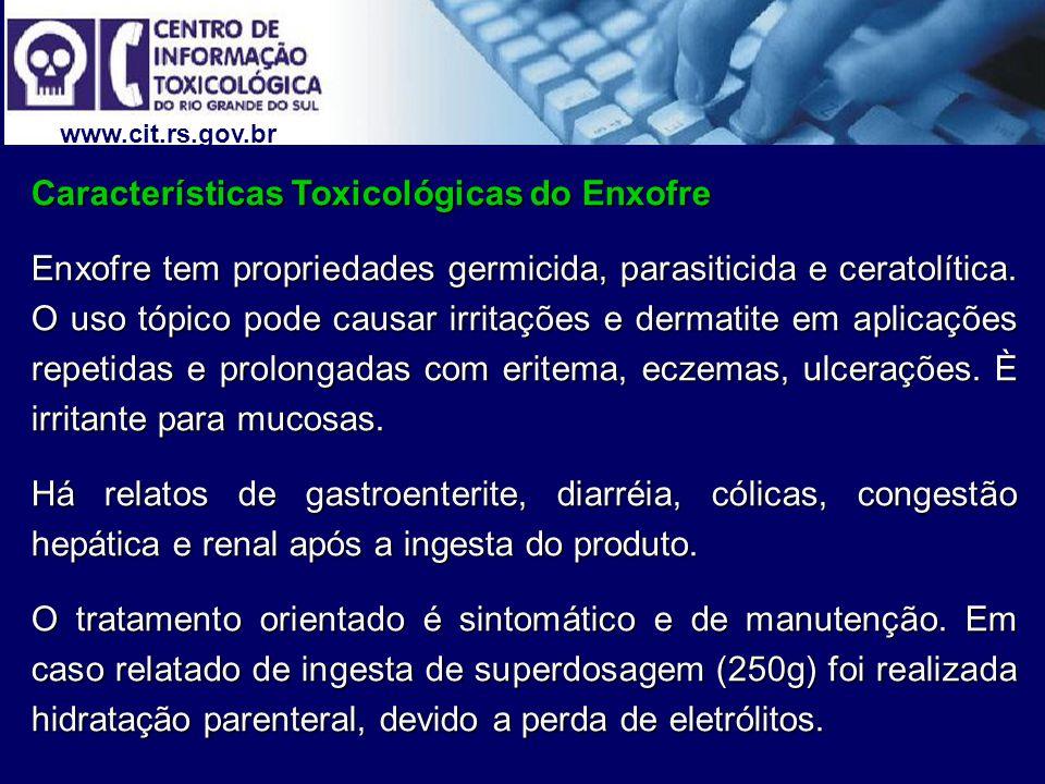 Características Toxicológicas do Enxofre