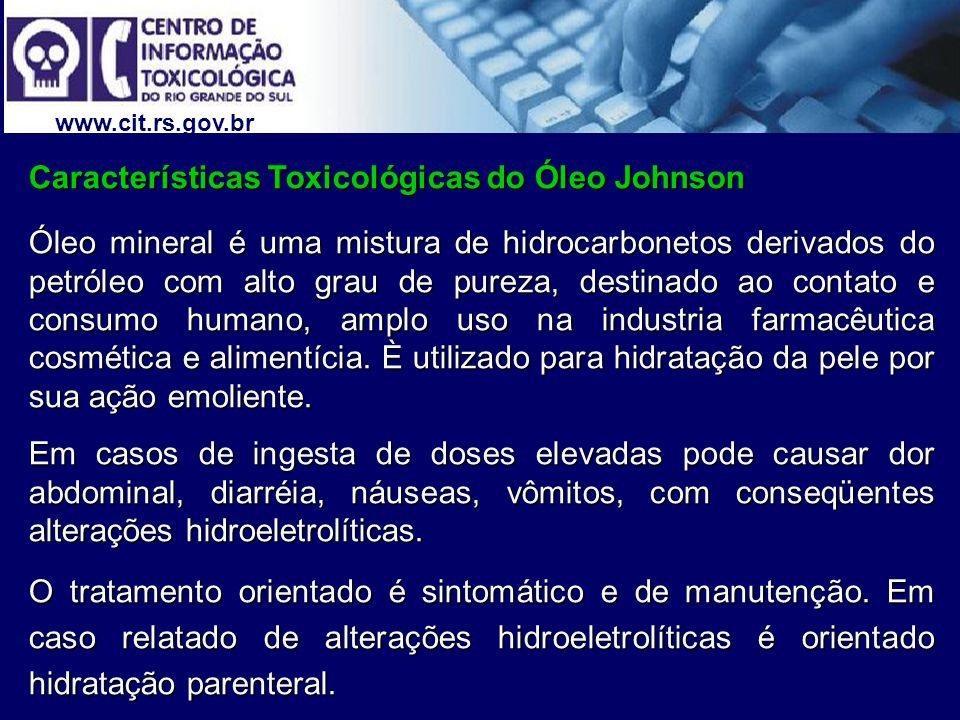 Características Toxicológicas do Óleo Johnson
