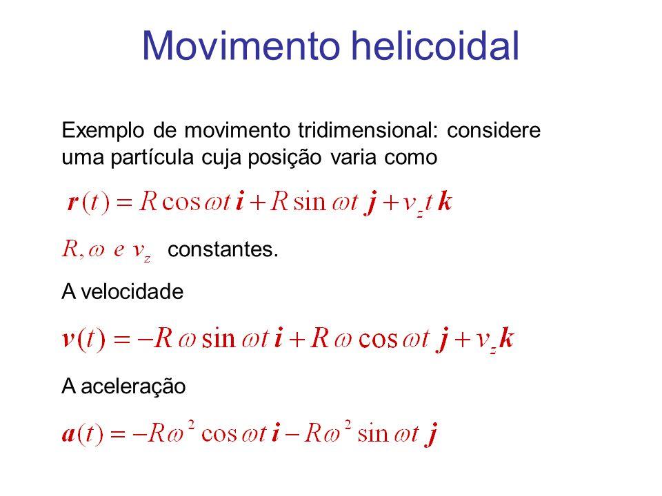Movimento helicoidal Exemplo de movimento tridimensional: considere uma partícula cuja posição varia como.