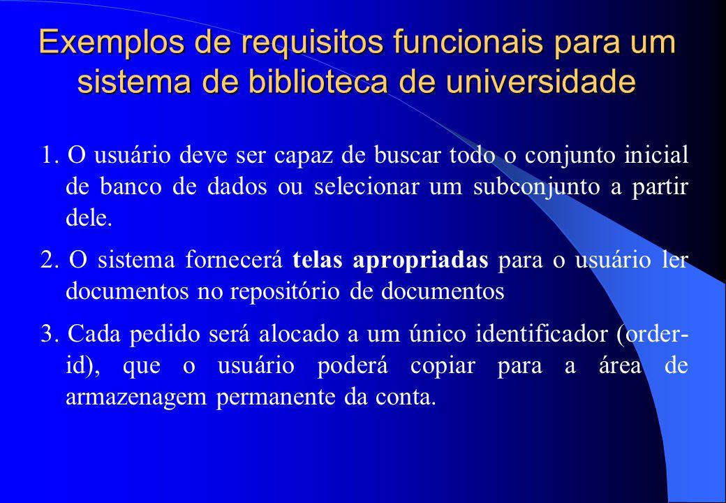 Exemplos de requisitos funcionais para um sistema de biblioteca de universidade