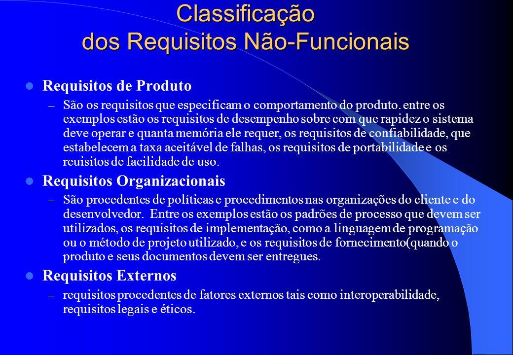Classificação dos Requisitos Não-Funcionais