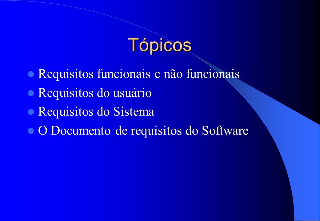 Tópicos Requisitos funcionais e não funcionais Requisitos do usuário