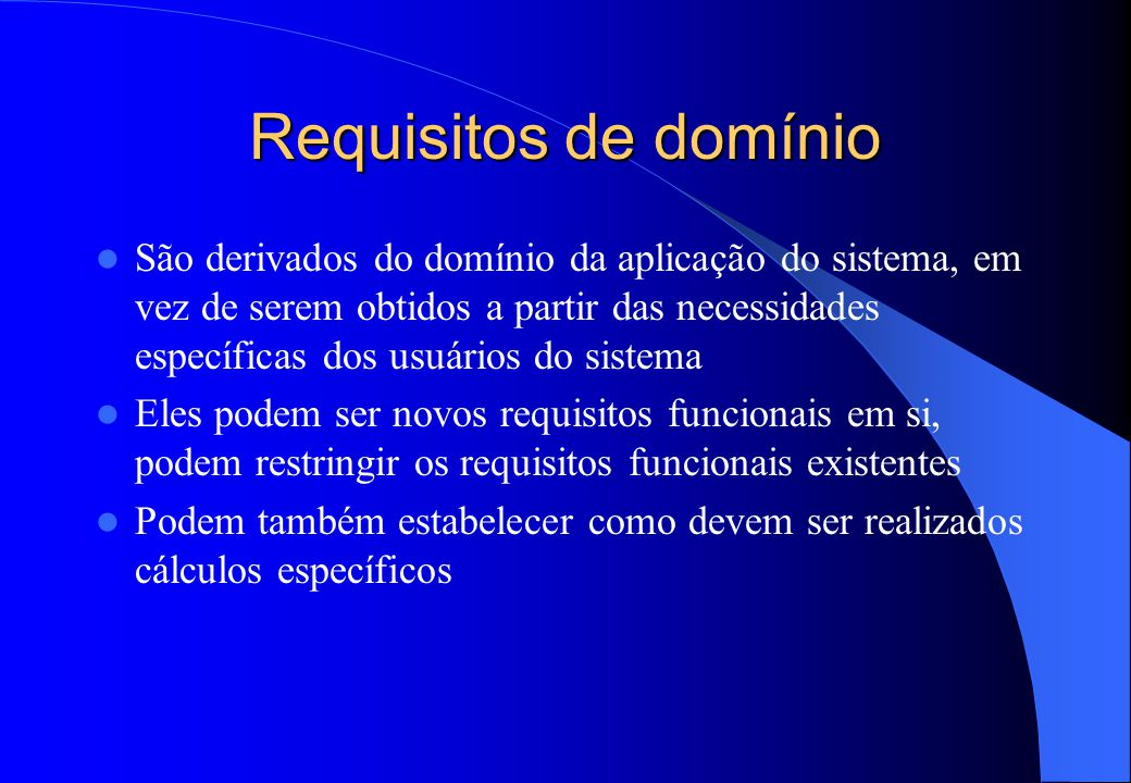 Requisitos de domínio