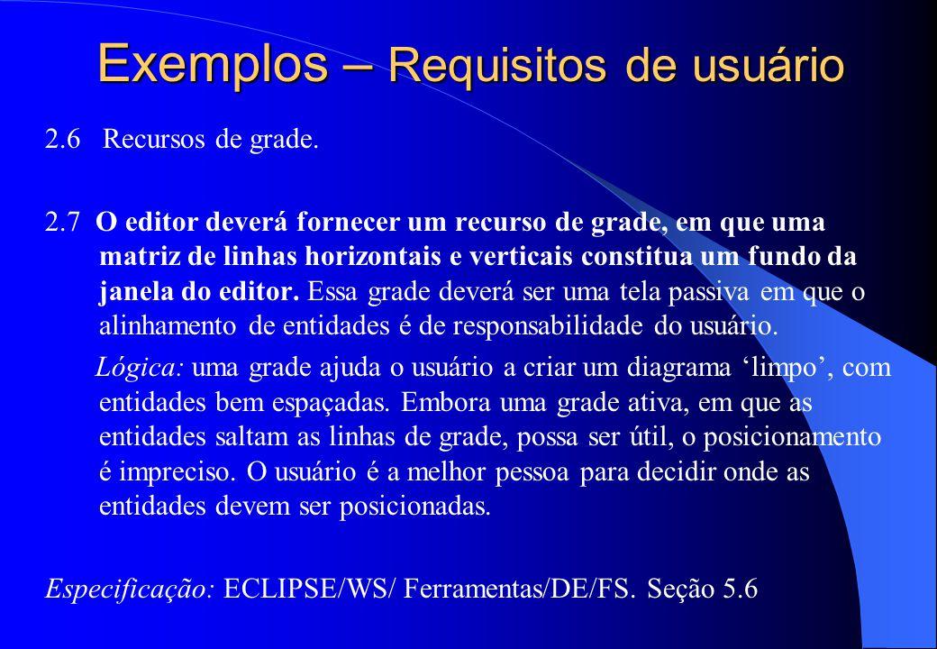 Exemplos – Requisitos de usuário
