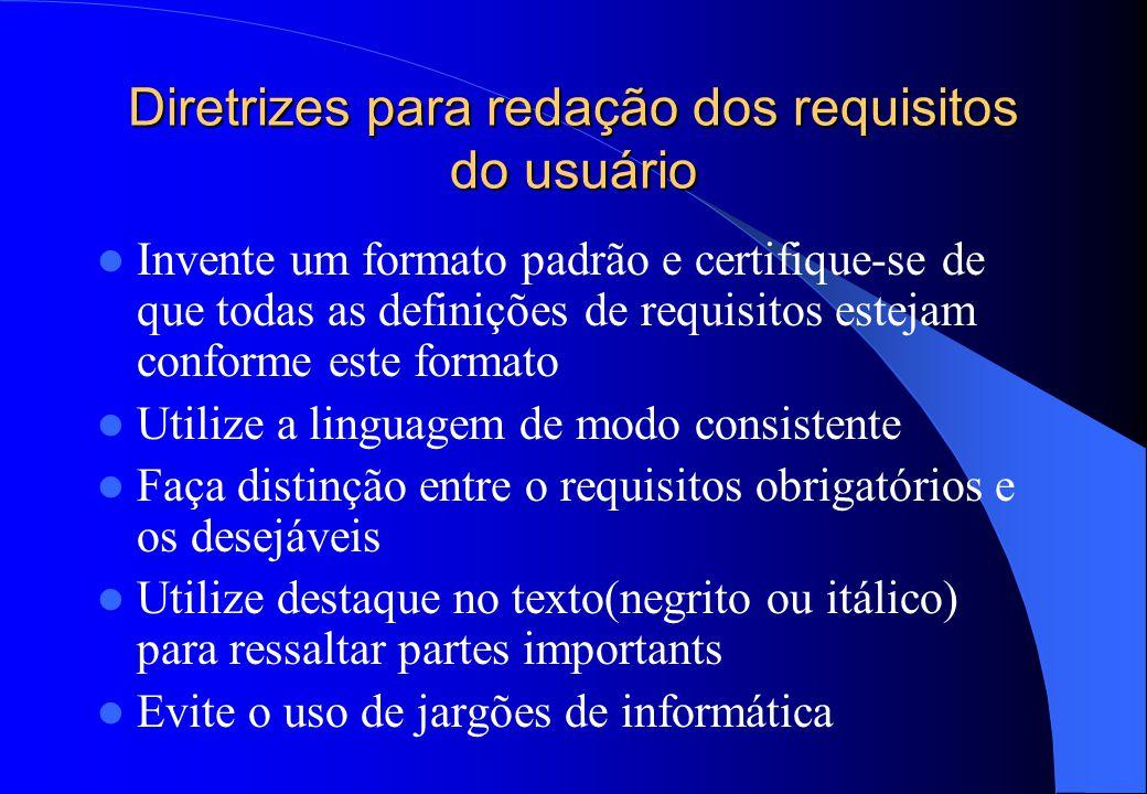 Diretrizes para redação dos requisitos do usuário