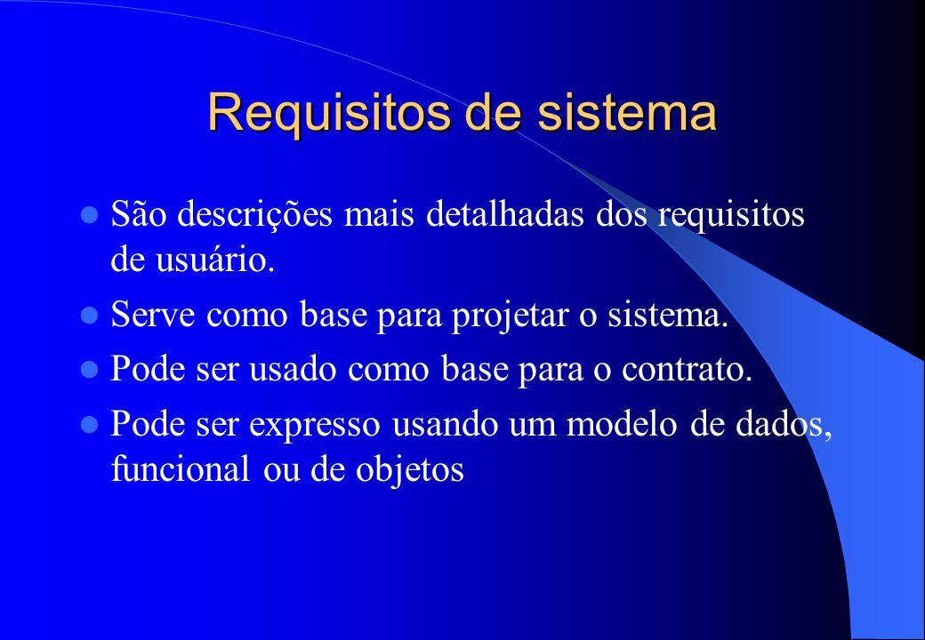 Requisitos de sistema São descrições mais detalhadas dos requisitos de usuário. Serve como base para projetar o sistema.