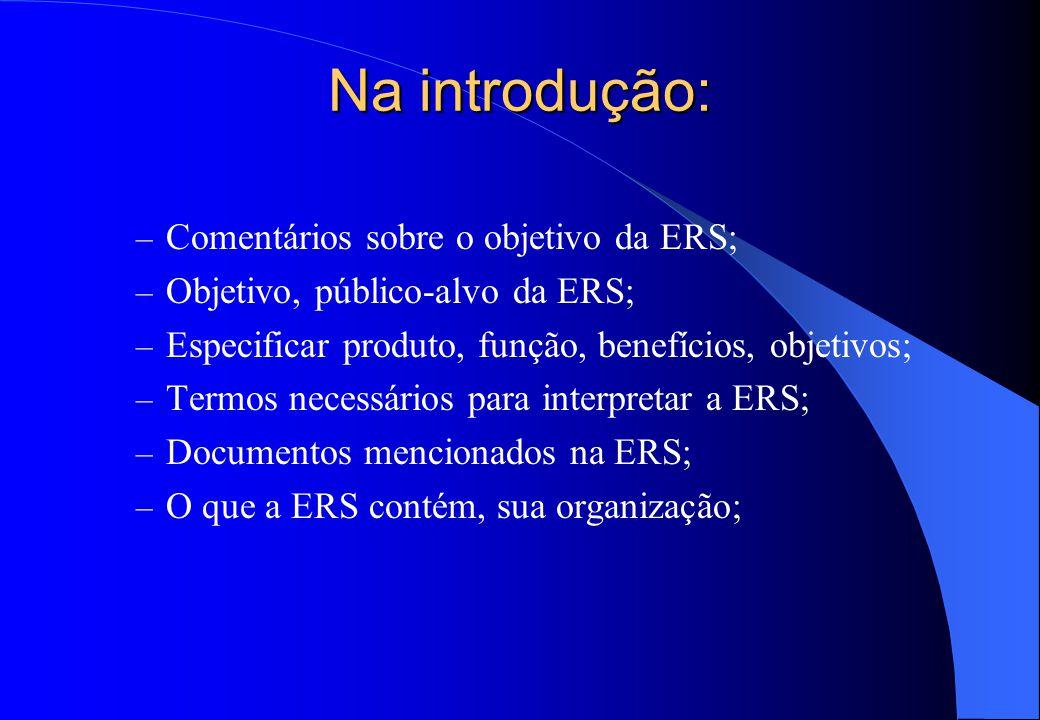 Na introdução: Comentários sobre o objetivo da ERS;