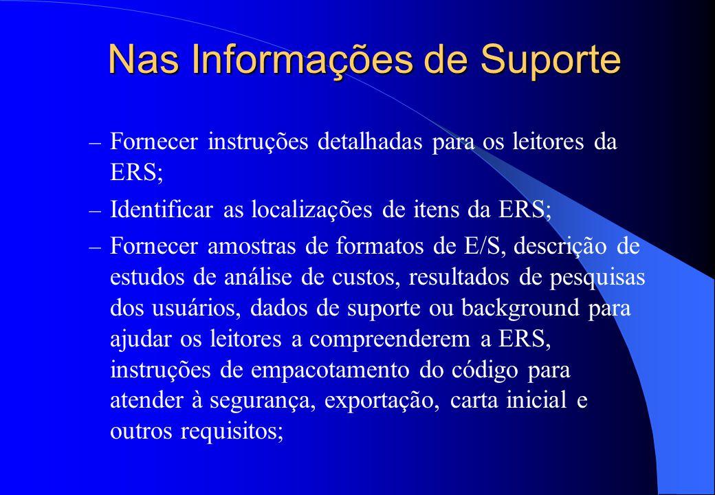 Nas Informações de Suporte