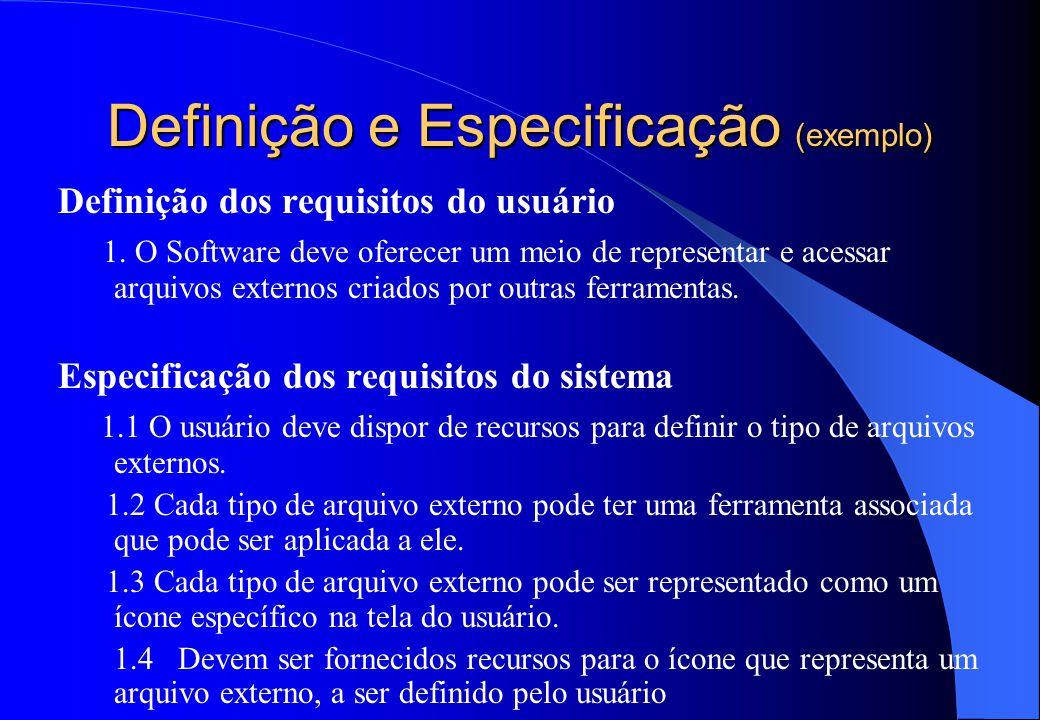 Definição e Especificação (exemplo)