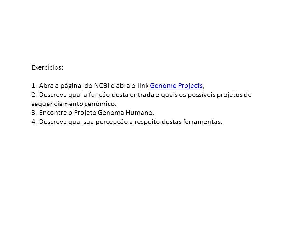 Exercícios: 1. Abra a página do NCBI e abra o link Genome Projects,