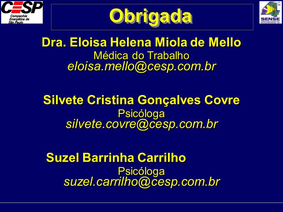 Obrigada Dra. Eloisa Helena Miola de Mello eloisa.mello@cesp.com.br
