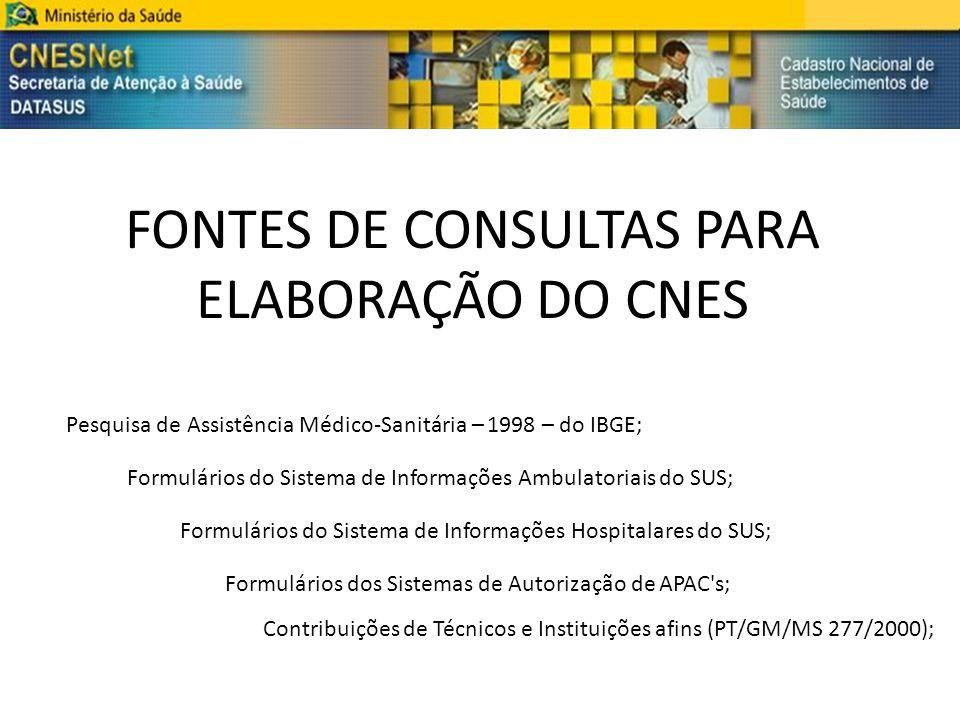 FONTES DE CONSULTAS PARA ELABORAÇÃO DO CNES