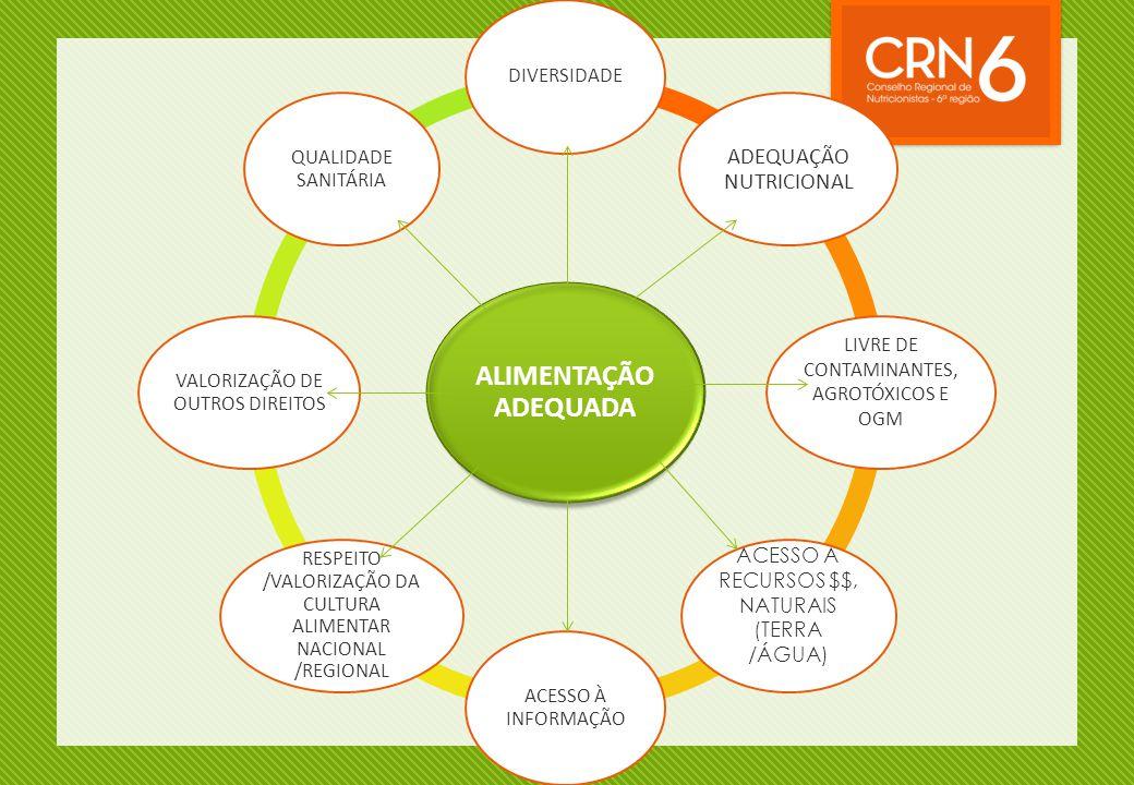ALIMENTAÇÃO ADEQUADA ADEQUAÇÃO NUTRICIONAL DIVERSIDADE
