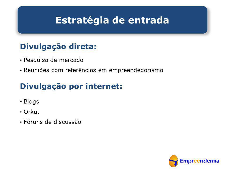 Estratégia de entrada Divulgação direta: Divulgação por internet: