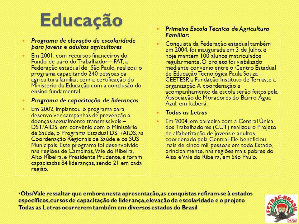 Educação Primeira Escola Técnica de Agricultura Familiar: