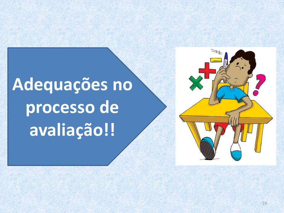 Adequações no processo de avaliação!!
