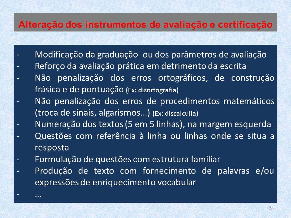 Alteração dos instrumentos de avaliação e certificação