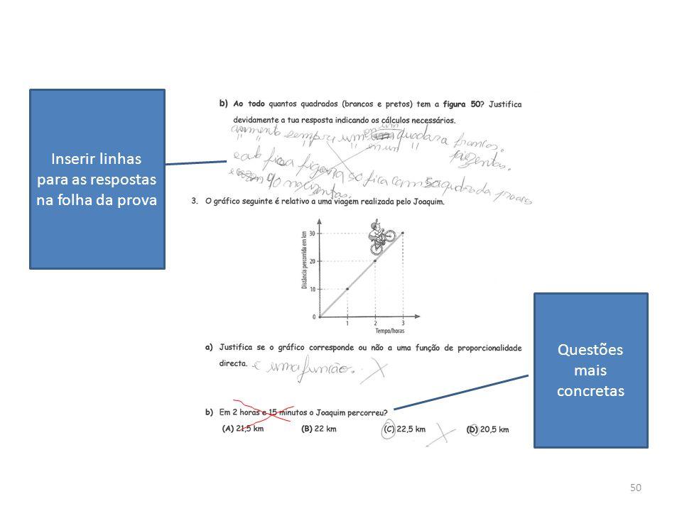 Inserir linhas para as respostas na folha da prova
