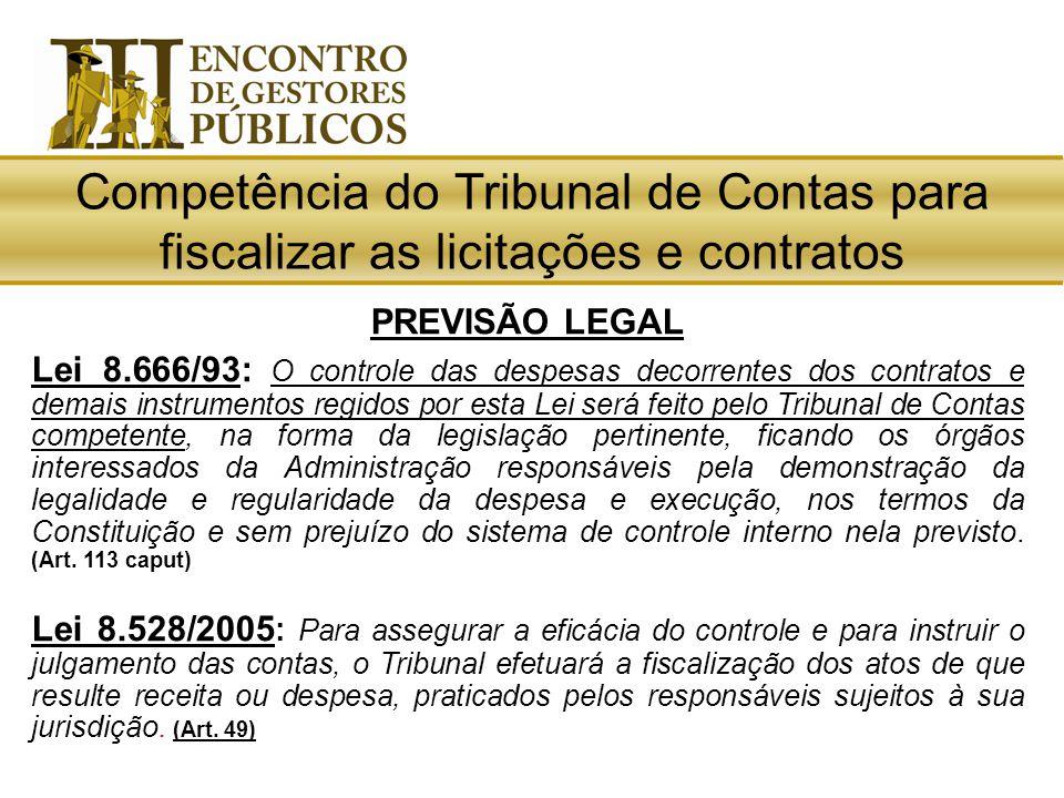 Competência do Tribunal de Contas para fiscalizar as licitações e contratos