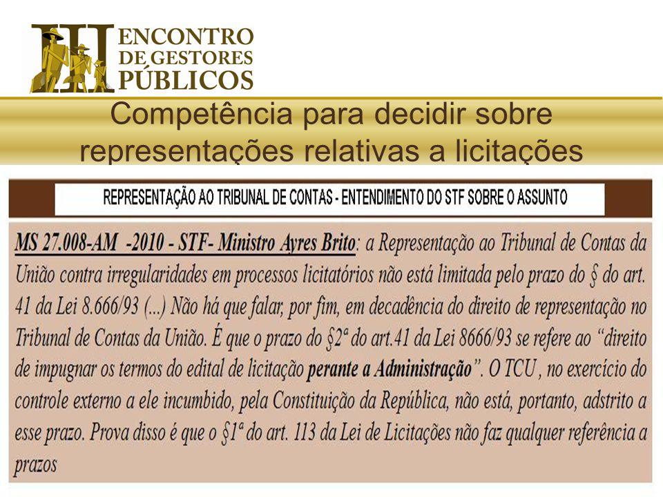 Competência para decidir sobre representações relativas a licitações