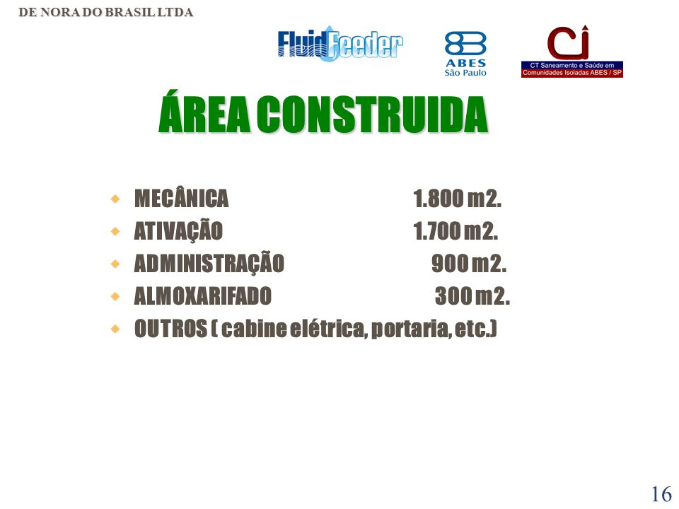 ÁREA CONSTRUIDA MECÂNICA 1.800 m2. ATIVAÇÃO 1.700 m2.
