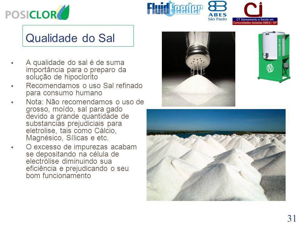 Qualidade do Sal A qualidade do sal é de suma importância para o preparo da solução de hipoclorito.