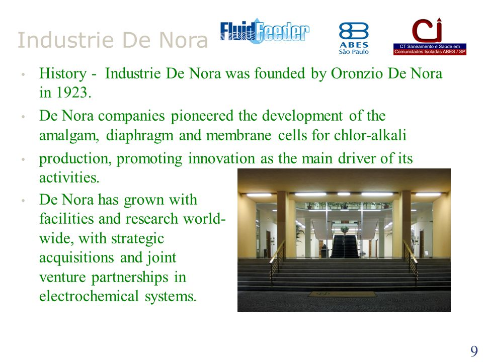 Industrie De Nora History - Industrie De Nora was founded by Oronzio De Nora in 1923.
