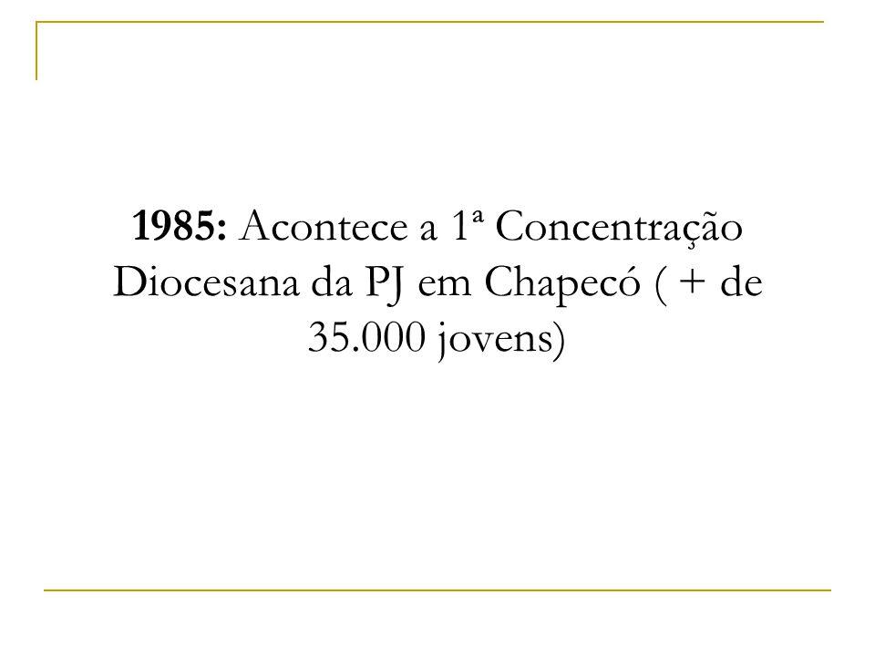 1985: Acontece a 1ª Concentração Diocesana da PJ em Chapecó ( + de 35