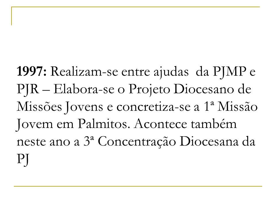 1997: Realizam-se entre ajudas da PJMP e PJR – Elabora-se o Projeto Diocesano de Missões Jovens e concretiza-se a 1ª Missão Jovem em Palmitos.