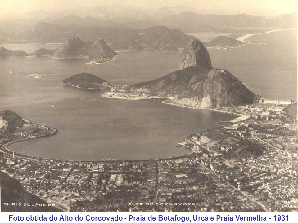 Foto obtida do Alto do Corcovado - Praia de Botafogo, Urca e Praia Vermelha - 1931