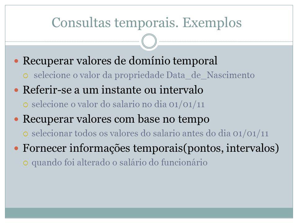 Consultas temporais. Exemplos