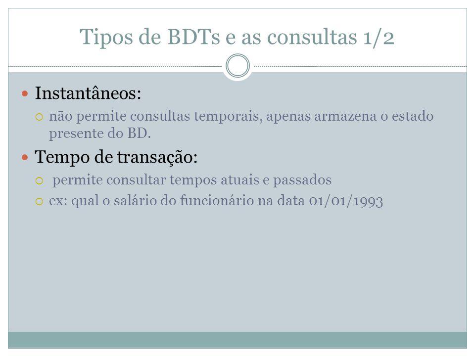 Tipos de BDTs e as consultas 1/2