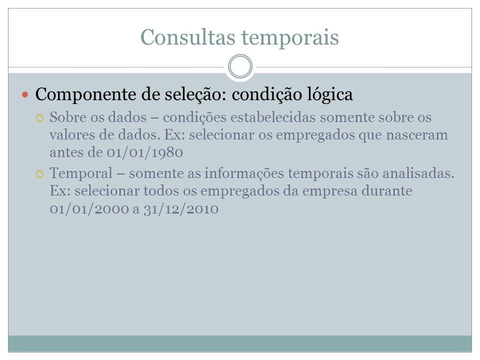 Consultas temporais Componente de seleção: condição lógica