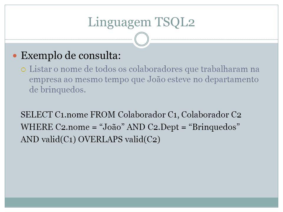 Linguagem TSQL2 Exemplo de consulta: